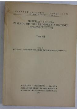 Materiały i studia zakładu historii filozofii starożytnej i średniowiecznej t:VII