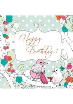 Karnet Swarovski kwadrat CL1502 Urodziny ptaszki