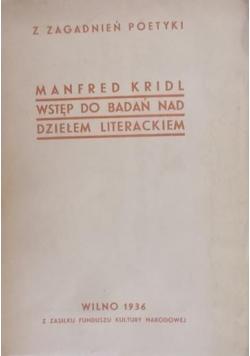 Wstęp do Badań nad Dziełem Literackim, 1936 r
