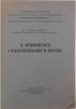 O interpretacji i wartościowaniu w historii, 1948 r.