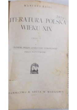 Literatura Polska wieku XIX Część V, 1931 r.