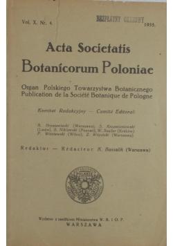 Acta Societatis Botanicorum Poloniae,  vol. X, nr. 4, 1933r.