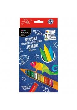Kredki trójkątne bezdrzewne 12 kolorów Jumbo KIDEA