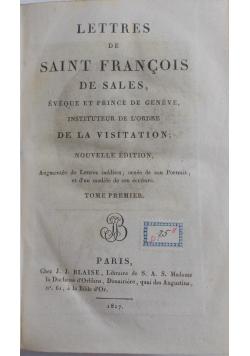 Lettres de Saint Francois de sales, 1817 r.