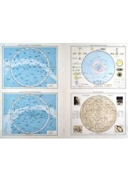 """ASTRONOMIE. - Planeten. - Karte. """"Nördlicher Sternhimmel. Südlicher Sternhimmel. Das Sonnensystem. Mondkarte"""" ok. 1893 r."""