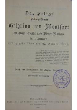 Der selige Ludwig-Maria Bringion von Montfort, 1890r.