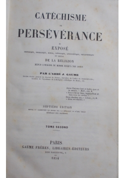 Catechisme Perseverance, tome second, 1854 r