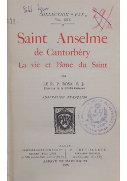Saint  Anselme de Cantorbery, 1929 r.