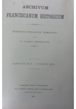 Archivum franciscanum historicum. Tomus XII. 1919 r.
