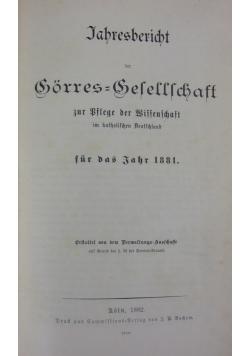 Jahresbericht der Gorres=Befeffschaft, 1882r.