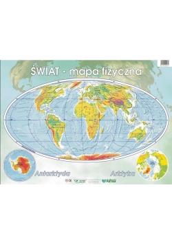 Świat mapa fizyczna. Podkladka na biurko