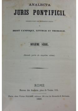 Analecta Juris Pontificii, 1869 r.