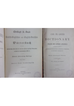 Dictionary of the English and German languages / Deutsch-Englisches und Englisch-Deutsches Worterbuch, 1885r.