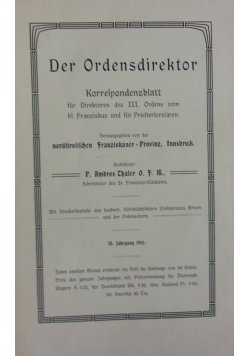 Der Ordensdirektor, 1910r.