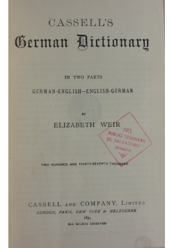 Cassell's German Dictionary, 1899 r.