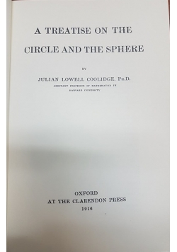 A Treatise on the Circle and the Sphere, Reprint 1918