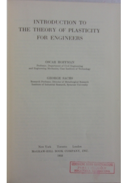 Introduction to the theory of plasticity for engineers