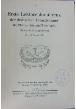 Erste Lektorenkonferenz der deutschen Franziskaner, 1922 r.