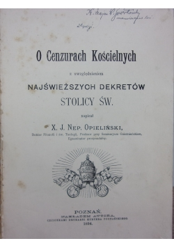 O cenzurach Kościelnych, 1894 r.