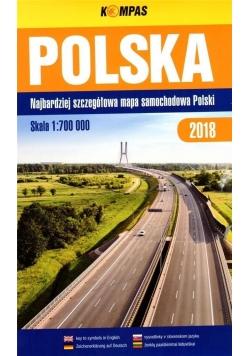 Mapa samochodowa 1:700 000 Polska 2018 BR