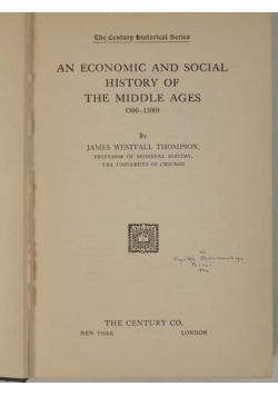 An Economic and Social History of the Middle Ages, 1928 r.