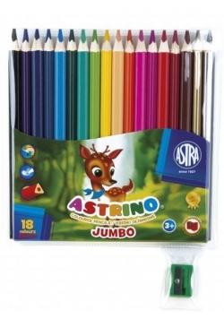 Kredki ołówkowe trójkątne Astrino 18 kolorów ASTRA