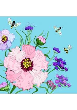 Karnet Swarovski kwadrat CL0610 Kwiaty błękit