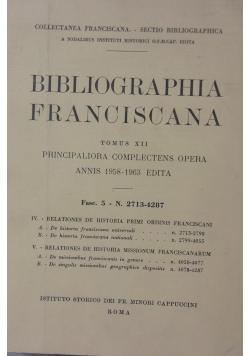 Bibliographia Franciscana. tom XII