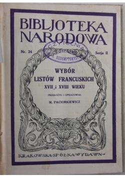 Wybór listów francuskich XVII i XVIII wieku, 1923 r.