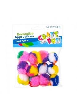 Ozdoba dekoracyjna kolorowe pompony 12el