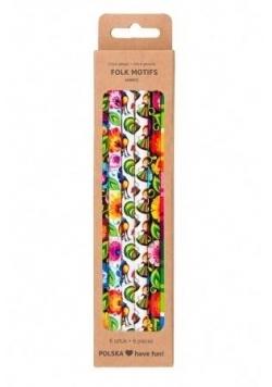 Zestaw ołówki z gumką - 6 szt. Łowicz FOLKSTAR