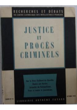 Justice et proces criminels