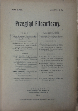 Przegląd filozoficzny. Zeszyt I i II, 1915 r.