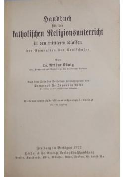Handbuch für den katholischen Religionsunterricht, 1922 r.