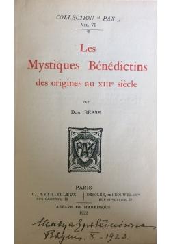 Les Mystiques Benedictins des origines au XIII siecle, 1922