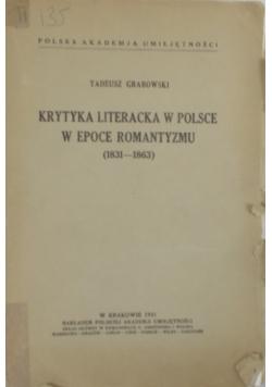 Krytyka literacka w Polsce w epoce romantyzmu (1831-1863), 1931r.