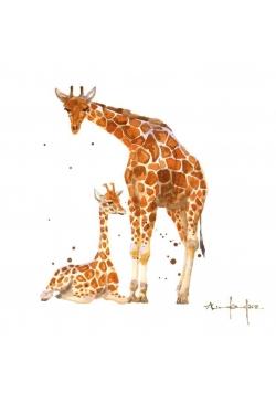 Karnet kwadrat mały z kopertą Giraffe Mum and Baby