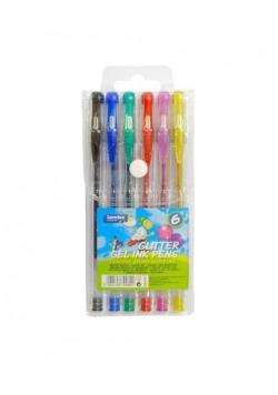 Długopisy żelowe brokatowe 6 kolorów LAMBO