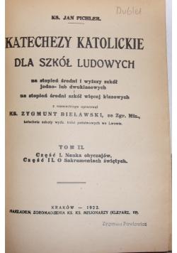 Katechizmy katolickie dla szkół ludowych Tom II, 1922r.