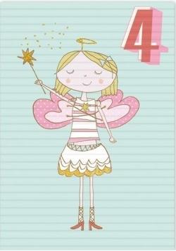 Karnet B6 z kopertą Urodziny 4 dziewczynka