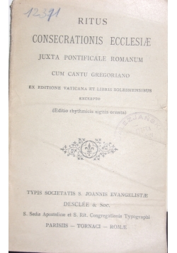 Ritus consecrationis ecclesiae, 1936 r.