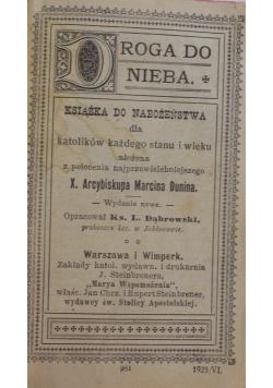Droga do nieba, książka do nabożeństwa, 1925 r.