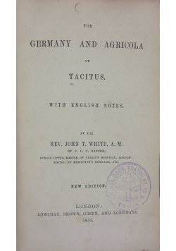 The Germany and Agricola of Tacitus, 1855r.