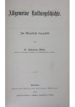 Allgeineine Kulturegeschichte, 1895r.