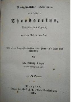 Ausgewahlte Schriften des feligen Theodoretus, 1878 r.