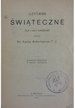 Czytania świąteczne, 1905 r.
