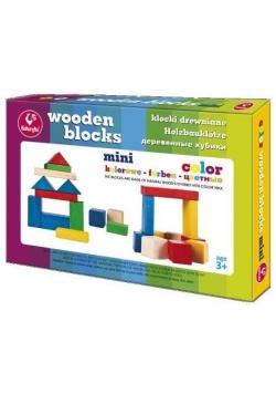 Klocki drewniane kolorowe mini