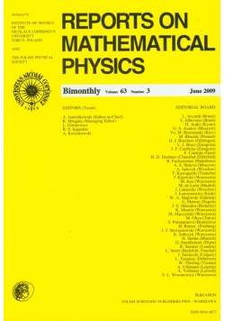Reports on Mathematical Physics 63/3 2009 Perg