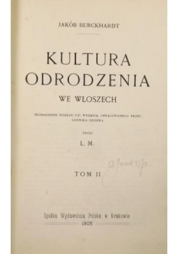 Kultura odrodzenia we Włoszech, 1905r.