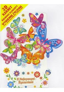 Karnet składany 3D - Motylki